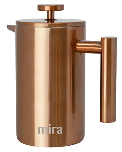MIRA 20オンス ステンレススチール フレンチプレスコーヒーメーカー | 二重壁断熱コーヒー&ティー醸造ポット & メーカー | コーヒーや紅茶を温かく保ちます | 600 ml (銅)