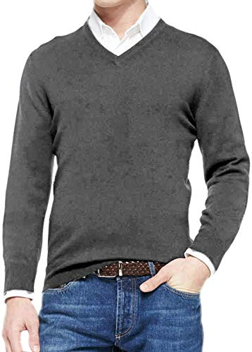 poriff Mens Thick Sweaters and Pullovers Light Weight V Neck Sweater Weather Sweaters Grey S