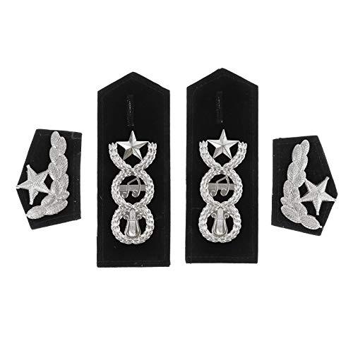 FEESHOW Schulterklappen Pilot Kapitän Streifen Epaulet Fluggesellschaft Marine Kostüm Uniform Zubehör Schulter Schmuck Typ D Schwarz & Silber One Size