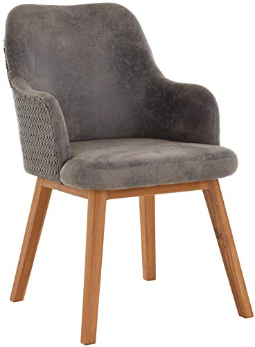 korb.outlet Polstersessel Stone Loomsessel Esszimmerstuhl mit Armlehnen Gepolsterter Sessel Holzbeine aus Loom (Grau)