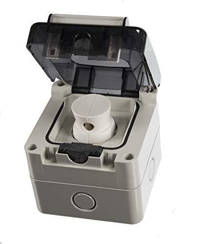 Aufputz oder Unterputz Schuko Feuchtraum Steckdose IP66 Hergestellt in der EU mit passende Stecker (Aufputz)