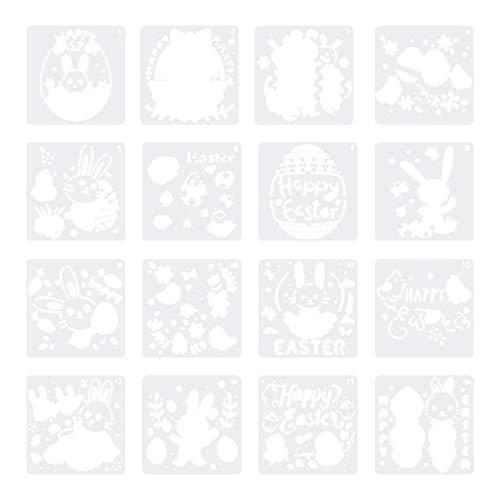Milisten 16 Blatt Ostern Schablonen Vorlagen Glücklich Ostern Kaninchen Hase Plastikzeichnung Malerei Schablonen Vorlagen Ostern Kinder Geburtstagsfeier Begünstigt Geschenke 13X13cm