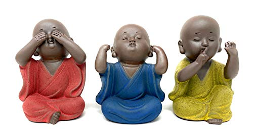 Three Wise Monks, Houlu Ceramic Baby Buddha Statues, Hear No Evil See No Evil Speak No Evil Statues, Set of 3 Buddha Figurines
