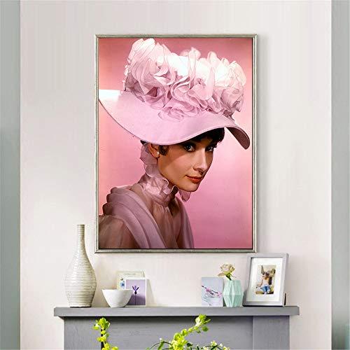 tiandushangdian Audrey Hepburn Carteles E Impresiones Mujeres Sexy Película Pintura sobre Lienzo Arte Abstracto Pintura Al Óleo Cuadro De Pared Decoración para El Hogar Sin Marco P176 (50X60Cm)