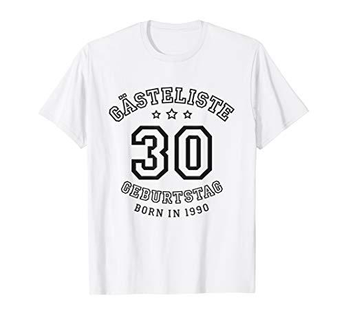 Gästeliste 30. Geburtstag 1990 Gästebuch in Trikot-Schrift T-Shirt
