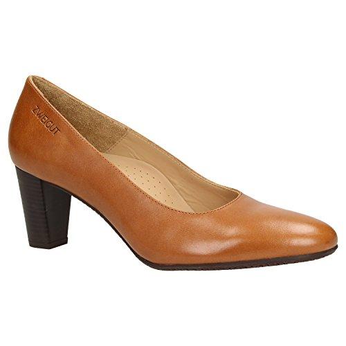 Zweigut smuck #214 Achtung GRÖßENWANDEL Damen Leder Pumps Nappaleder Sommer Business Schuhe Komfort Laufsohle, Schuhgröße:38, Farbe:Cognac