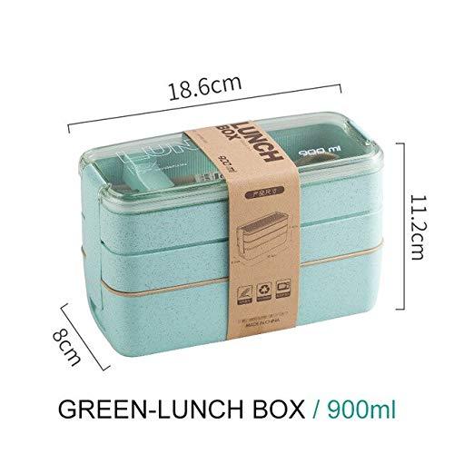 Fiambrera portátil de Material Saludable de 900 ml Cajas bento de Paja de Trigo de 3 Capas Vajilla para microondas Contenedor de Almacenamiento de Alimentos Foodbox - Verde