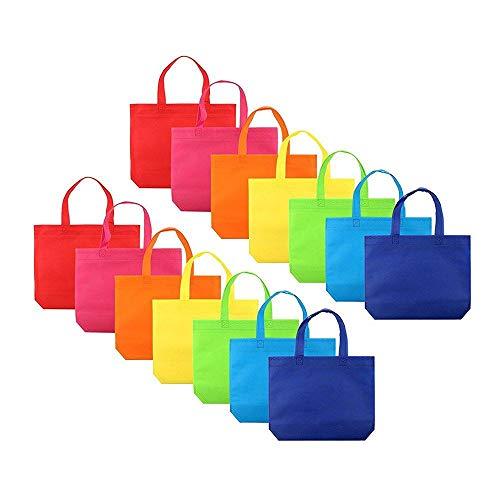 Cratone Boodschappentassen, herbruikbaar, vliesstof, bont, doe-het-zelf-cadeautasjes voor verjaardag, Kerstmis, Halloween, festivals, bruiloft, draagtassen, 14 stuks