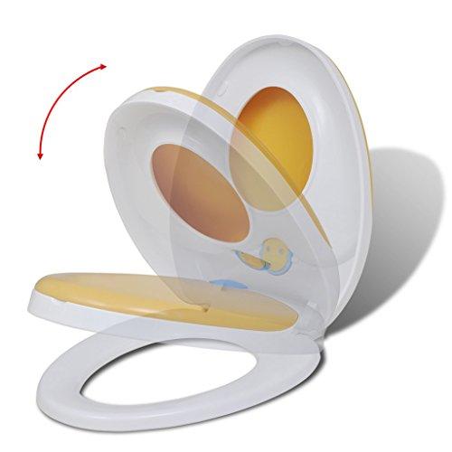 Festnight Wei?/Gelber WC-Sitz Toilettendeckel Toilettensitz mit Absenkautomatik Polypropylen für Kinder und Erwachsene