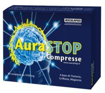 Aurastop compresse - Integratore naturale contro MAL di TESTA - CEFALEA - EMICRANIA con Aura - a base di Partenio, Griffonia e Magnesio - Senza Glutine (Adatto per i celiaci)