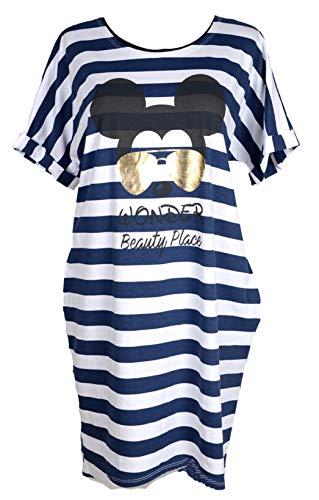 Damen Sommer Maritim Lagenlook Kleid Tunika Shirt 40 40 42 44 46 M L XXL gestreift Blau Weiß Mickey Mouse Applikation Urlaub Strand (44)