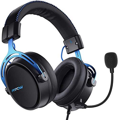 Mpow Air SE Cuffie Gaming 3,5 mm per PS4, PS5,Xbox One, PC, Switch Cuffie over-ear con audio surround con microfono con cancellazione del rumore, Cuffie da gioco(blu)