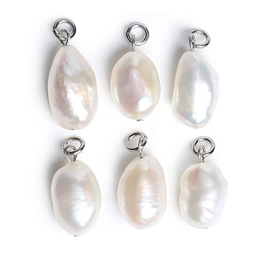 Wholesale 6PCS Baroque Freshwater Cultured Pearl Charms Natural Irregular White Pearl Pendant Supplies for Jewelry Making