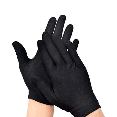 guanti neri Milisten Guanti in Cotone 12 Paia Neri per Guanti di Protezione D onore Ispezione Gioielli con Monete Idratanti Cosmetici Taglia L (Addensare)