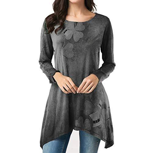 Damen Rundhals elegant T-Shirt Langarm Drucken Pullover Sweatshirt Frühling, Sommer...