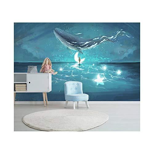 Blovsmile Beautiful starry sky aurora ocean whale 3D Tapeten Drucken Karikatur Cosplay Wandgemälde Wallpaper-300 * 250