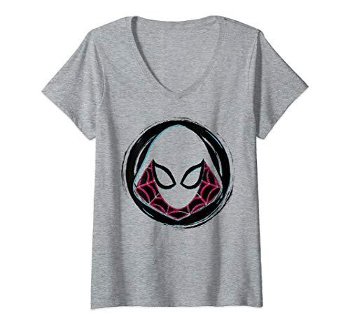 Womens Marvel Spider-Gwen Face Symbol Badge V-Neck T-Shirt
