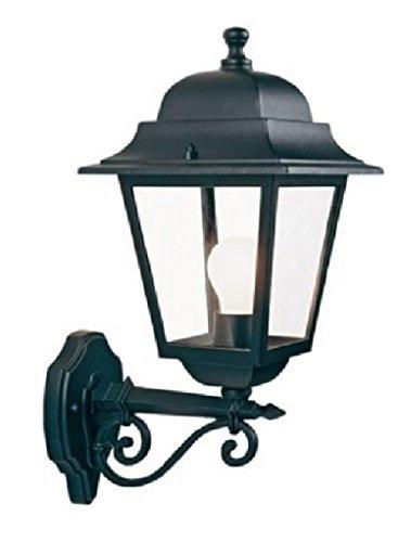 Lantaarn wandlamp 'vierkant' type opstijgend. Structuur van gegoten aluminium. Bescherming tegen corrosie, epoxypoedercoating. Geschikt voor gloeilampen en energiebesparend. Fitting E27, IP43.