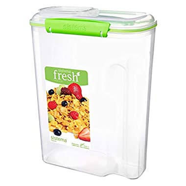 Sistema 951450ZS Fresh Collection Cereal Food Storage Container, Clear/Lime Green