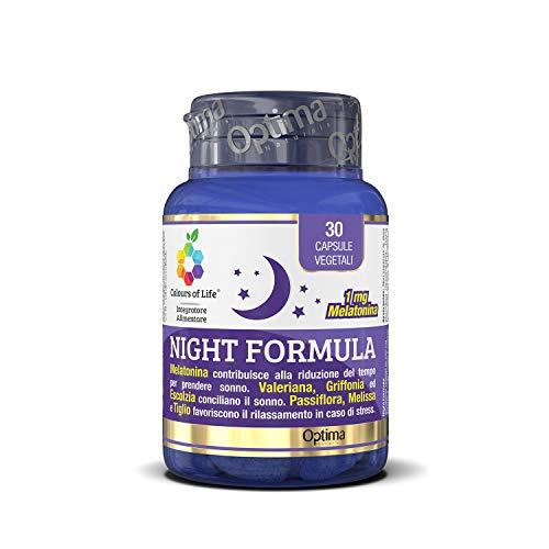 Colours Of Life Night Formula - Integratore Di Melatonina, Valeriana, Passiflora E Melissa - 30 Capsule Vegetali