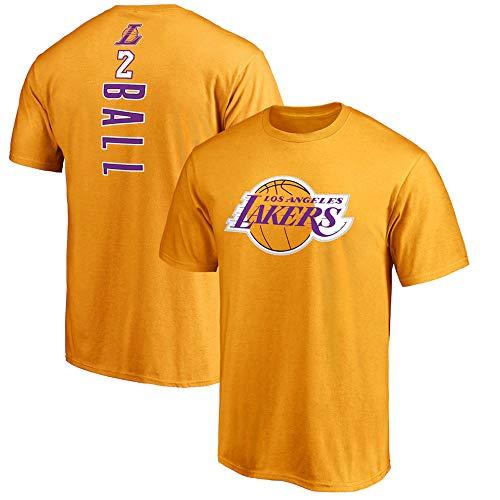 BMSD - Camiseta de manga corta para hombre, diseño de NBA Lakers n.º 2, color amarillo