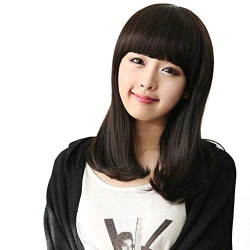 ChengBeautiful Perruque Lower Curly Neat Half Partie Longue Perruque Bangs Perruque Avant (Color : Black, Size : One Size)