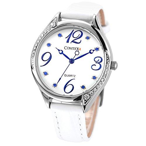 Reloj Comtex de muñeca para mujer, color de esferea blanco, analógico, resistente al agua