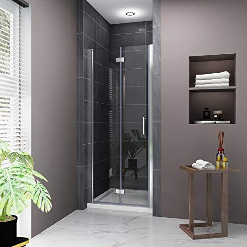 """ELEGANT 32"""" W x 72"""" H Bi-Fold Glass Shower Door, 3/16"""" Fold Clear Glass Shower Panel Pivot Swing Frameless Shower Doors, Chrome Finish"""