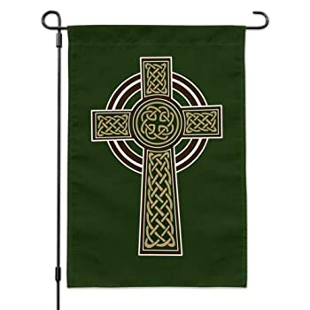 Georgia Barnard Seasonal Garden Flag 12 x 18 Inch Outdoor Flag Garden Banner Celtic Christian Cross Irish Ireland Garden Yard Flag