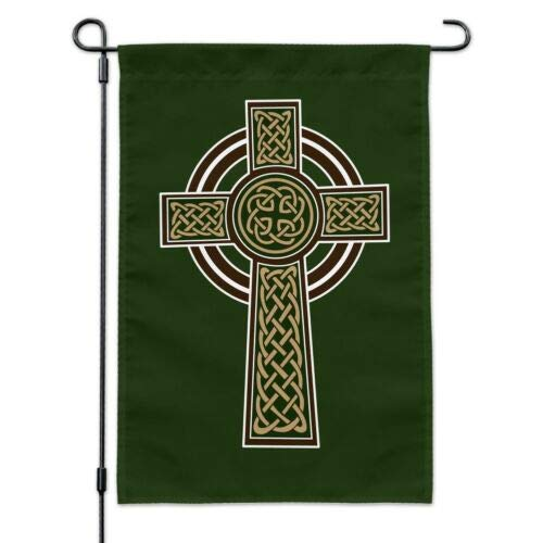 Georgia Barnard Seasonal Garden Flag, 12 x 18 Inch Outdoor Flag, Garden Banner, Celtic Christian Cross Irish Ireland Garden Yard Flag