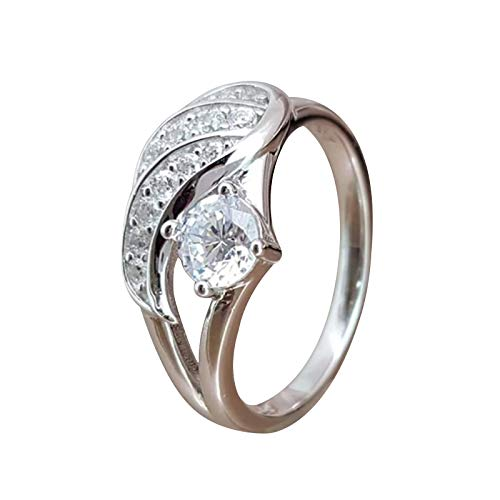 minjiSF Anillo de plata de diamante para mujer, anillos de boda, retro, temperamento, anillos de boda, joya clásica, alianzas, anillos de boda, anillos de compromiso, moda de cumpleaños, (B, 7)