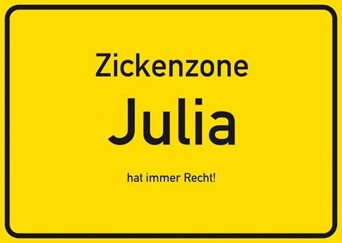Postkarte Kunststoff +++ NAMENSSCHILD von modern times +++ JULIA +++ ARTCONCEPT ZICKENSCHILDER