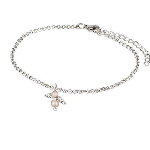 Selected Jewelry Karin Stemmler Kinderarmband Schutzengel aus Swarovski Perlen rosé an Edelstahlarmband