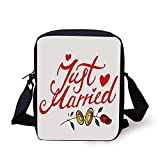Wedding Decorations,Just Married Hand Writing in Red and Rose with Wedding Rings,Red Fern Green White Print Kids Crossbody Messenger Bag Purse