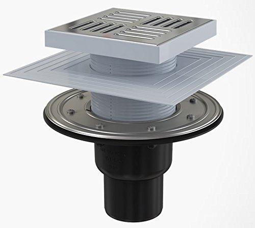 Bodenablauf Senkrecht 150x150 Duschablauf Badablauf Design Edelstahl begehbare Dusche DN 50 Siphon Geruchsverschluss