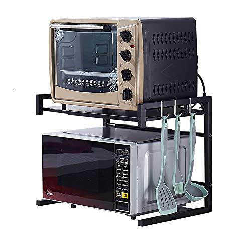 HFZY Estante de Horno de microondas Extensible, Soporte de microondas de encimera Ajustable, Organizador de Cocina con 3 Ganchos, libremente retráctil 43-65 cm, Acero al Carbono Negro