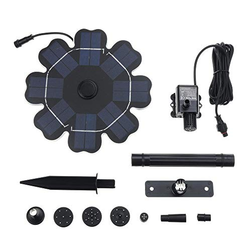 Waterpomp Solar 2.5W 220L / H 12V Zonnepaneel Waterpomp Vijvertuin Floating Fountain Dompelpomp Vogel Bad Kleine Vijver Tuin En Gazon (Color : Black, Size : 200x17mm)