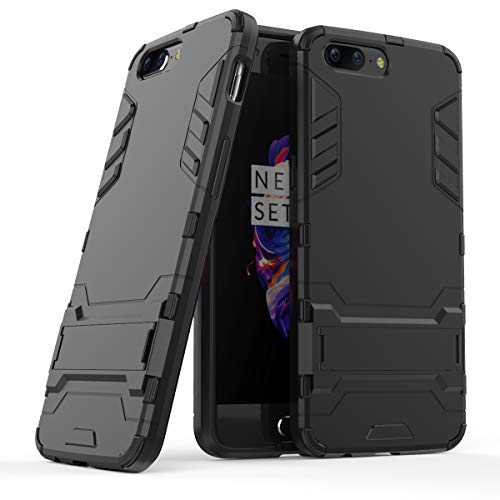 Cocomii Iron Man Armor OnePlus 5 Case, Slim Thin Matte Vertical & Horizontal Kickstand Reinforced Drop Protection Fashion Phone Case Bumper Cover Compatible with OnePlus 5 (Jet Black)