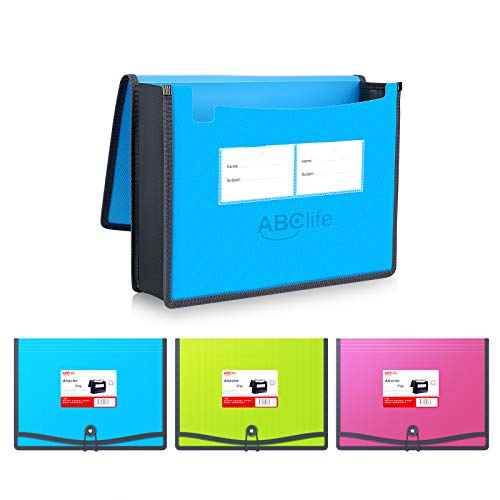3 Pack Expanding File Folder Organizer Poly Pockets A4/Letter Size, Plastic Expandable File Wallet/Colorful Document Folder with Elastic Closure, Premium Accordion File Pouch, 2 Business Card Holder
