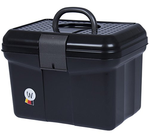 Schoonmaakbox, poetskoffer, met handgreep, afsluitbaar, verstelbare scheidingswand, grooming box, zwart