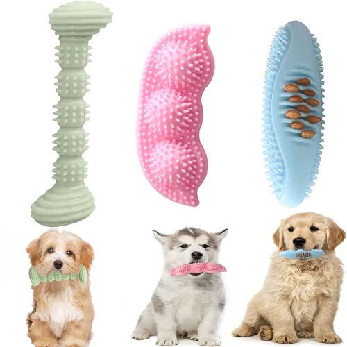 Decormax 3Pack Dog Chew Toys for Puppy Teething 2-8 Months Puppies Teething Toys Dog Toy Bundle Soft & Durable Toothbrush for Small Dogs Cleaning Teeth and Protects Oral Health (Chew Toys)