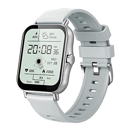 Pipishoop SP2 Smart Watches Fitness Tracker Monitor de ritmo cardíaco Relojes para hombres y mujeres, pantalla a color de 1.7 pulgadas, reloj digital impermeable IP67 (plateado)