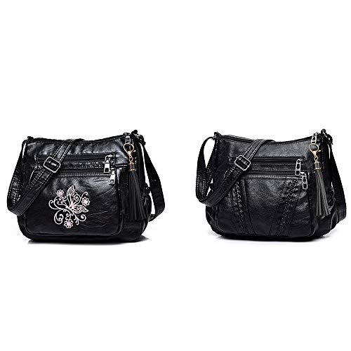 ELDA Crossbody Bags For Women Pocketbooks Soft PU Leather Purses and Handbags Multi Pocket Shoulder Bag