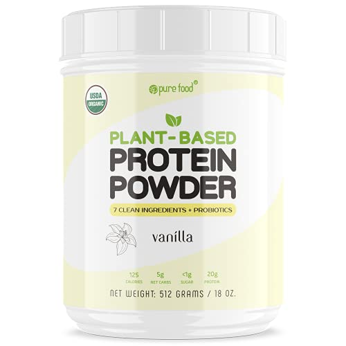 Pure Food: Plant Based Protein Powder with Probiotics   Organic, Clean, All Natural, Vegan, Vegetarian, Whole Superfood Nutritional Supplement with No Additives   Keto (Vanilla)