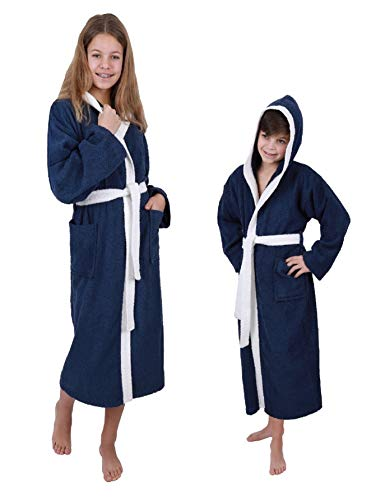 Betz Kinderbademantel mit Kapuze London 100% Baumwolle Kinder Bademantel 2-farbig Größe 140-176 Größe 164 - blau-weiß
