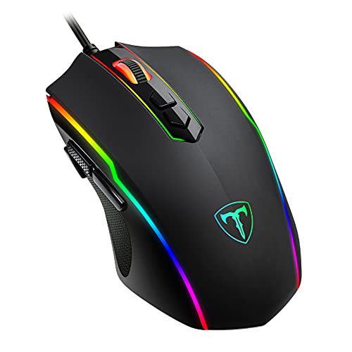 RGB Gaming Mouse Wired, EIONIY PC Gaming Mice with 8 Programmable Buttons, Chroma RGB Backlit, 7200 DPI Adjustable, Comfortable Grip Ergonomic Optical Computer Gaming Mice with Fire Button, Black