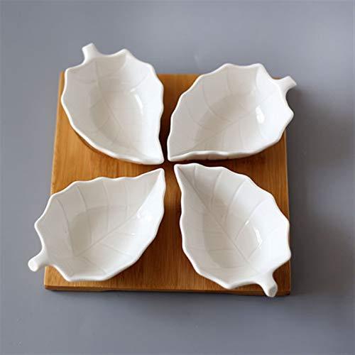 KitchenPRO LQF Pura de cerámica Blanca de Tazones Bandeja de bambú Pequeño Plato Postre Placa con los Cuencos de bambú Pallet for poderlo Horno Utensilios de cocina-10.1 (Color : Leaf)