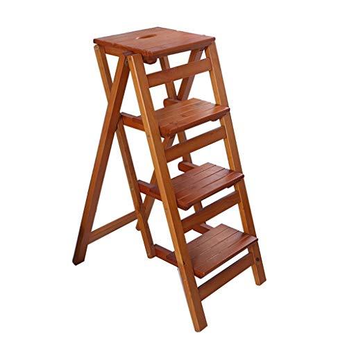 Furniture Stol/plantenstandaard, inklapbaar, 4 wielen, draagbaar, ladder, opstapkruk, kruk, hout, huishouden, bar voor kinderen en volwassenen, tuingereedschap