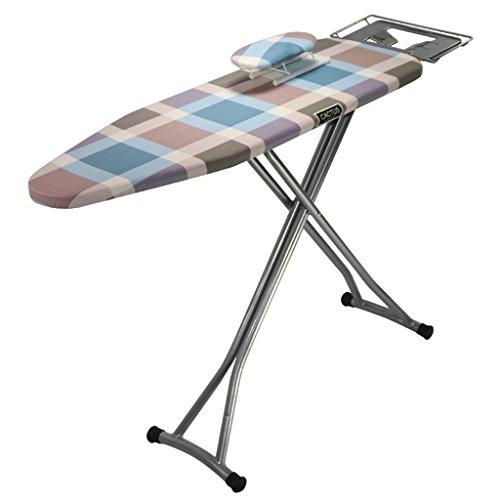 Tabla de planchar, patrón a cuadros de la tabla de planchar plegable del hogar, tubo de acero engrosado, malla de acero gruesa, diseño de la cerradura, placa de hierro eléctrico ( Size : 130*3