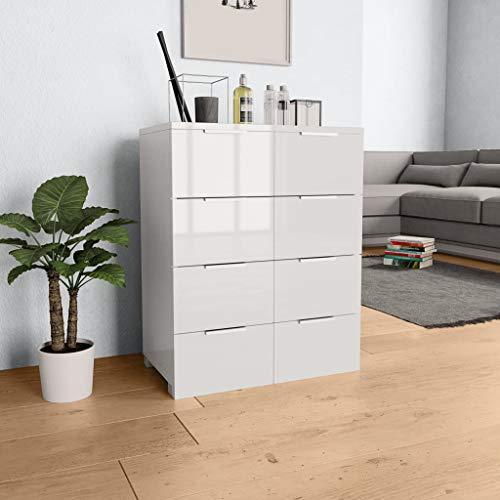 UnfadeMemory Sideboard Spanplatte Kommode Schubladenschrank Wohnzimmer Schrank Hochglanzschrank Reichlich Stauraum Lagerschrank Hochglanz-Finish (Weiß, Mit 8 Schubladen)